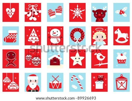 Advent calendar, retro christmas icons isolated on white - stock vector