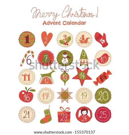 Advent Calendar Various Seasonal Objects Symbols Stock Vector
