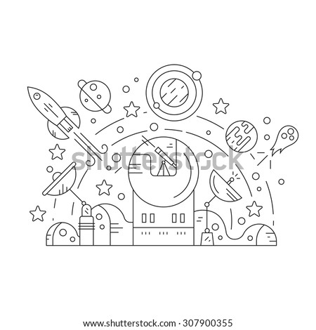 Adventure and exploration concept with space related design elements - rocket, planets, observatory, sattelites, stars. Thin line vector illustration. - stock vector