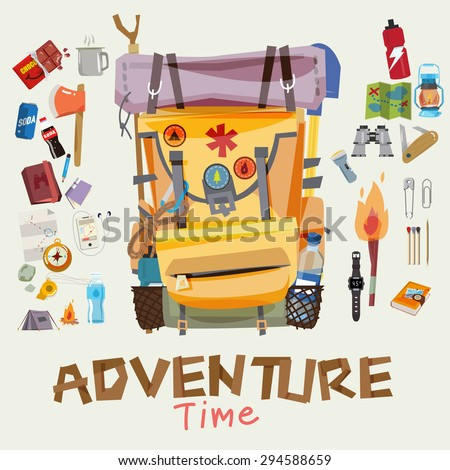 adventure backpack with traveller objects in round frame. adventure time concept. typographic wood design for header - vector illustratoin - stock vector