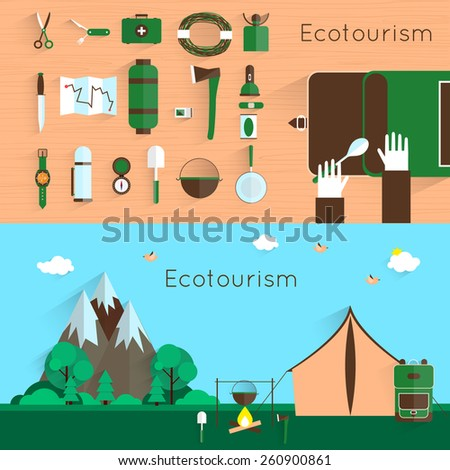 Adventure. Camping and hiking equipment elements. Camping landscape with tent and bonfire. Colorful design. Set icons. Vector flat banner set. - stock vector