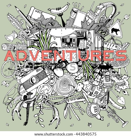 Adventure Camping objects in round collage. Adventure time concept. - stock vector
