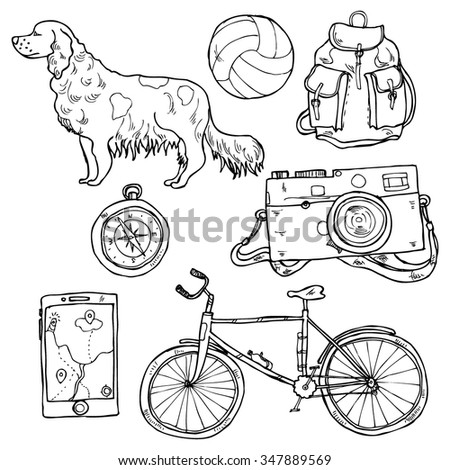 Adventure hand-drawn element collection in vector - stock vector