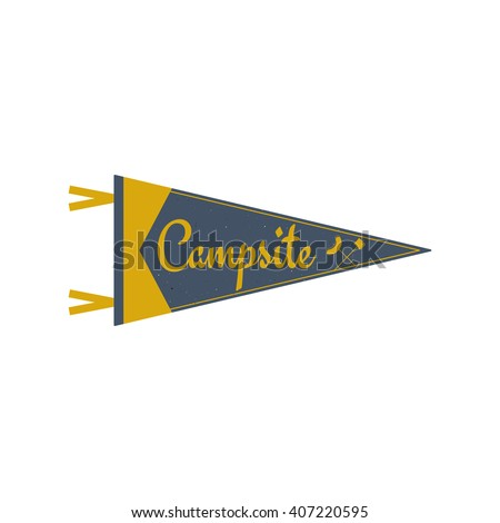 Adventure pennant. Campsite Pennant. Explorer flag design. Vintage camping template. Travel style pennant with summer camp symbols tent, trees. For Summer campsite or campground old style. - stock vector
