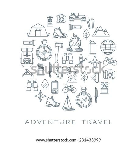 adventure travel round card - stock vector