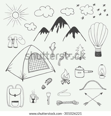 Adventures hand drawn vector doodle set in vintage style - stock vector