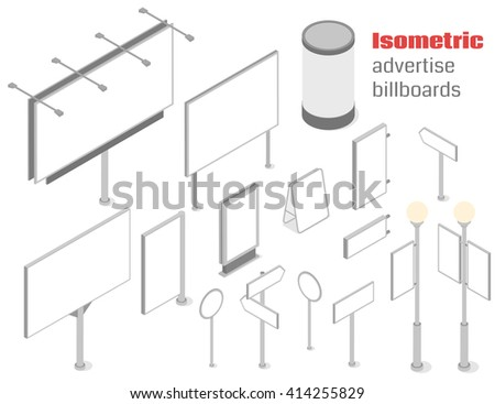 Advertise billboards and signboards set. Isometric vector illustration - stock vector