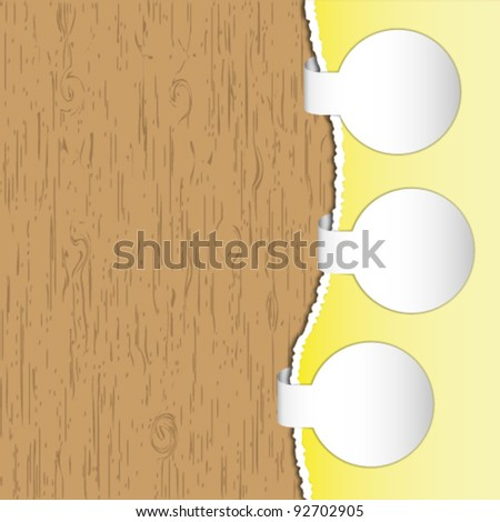 Advertise circle brochure and label on wood backgrounds. - stock vector