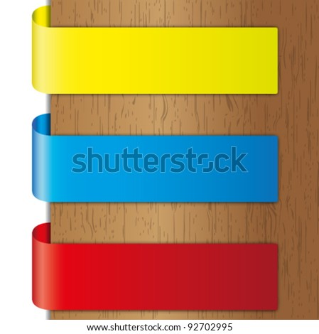 Advertise  colorful brochure and label on wood backgrounds. - stock vector