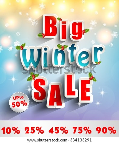 Advertisement about the sale background with christmas decoration. vector - stock vector