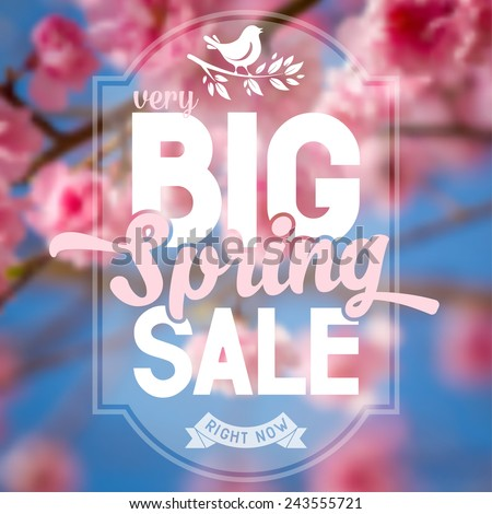 Advertisement about the spring sale on defocused background with beautiful cherry blossom. Vector illustration. - stock vector