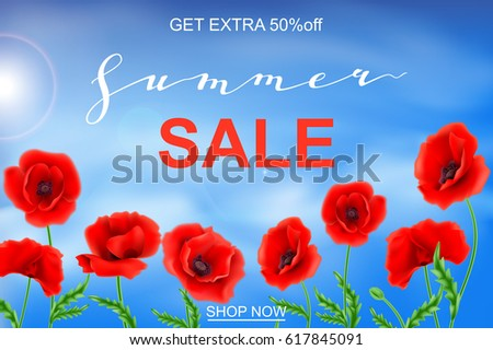 Advertisement about summer sale on background stock vector 617845091 advertisement about the summer sale on background with beautiful poppy flowers mightylinksfo