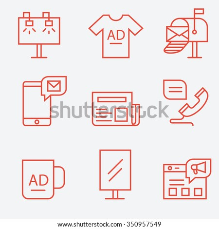 Advertisement and promotion icons, thin line flat design - stock vector
