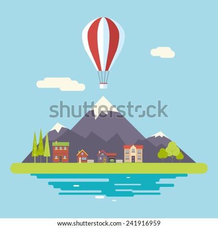Advertisement Commercial Promotion House Village Mountains Sky Icons Modern Flat Design Icon Summer Landscape Background Template Vector Illustration - stock vector
