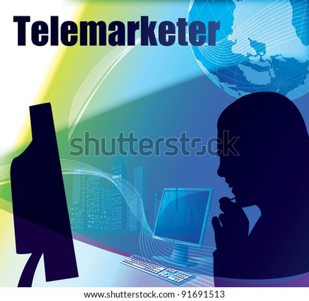 Advertisement for Professional Telemarketer with a headset on blue background - Customer Service Call Center - stock vector