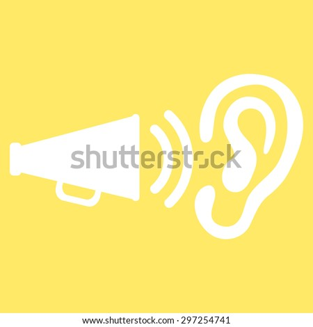 Advertisement icon from Business Bicolor Set. Vector style is flat symbol, white color, rounded angles, yellow background. - stock vector