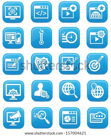 Advertisement icons,Blue version,vector