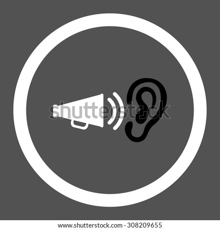 Advertisement vector icon. This rounded flat symbol is drawn with black and white colors on a gray background. - stock vector