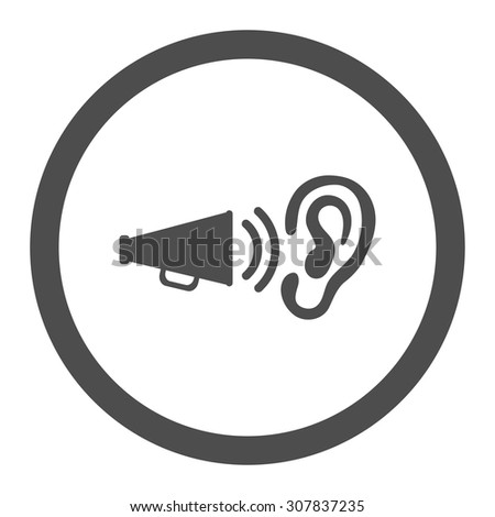 Advertisement vector icon. This rounded flat symbol is drawn with gray color on a white background. - stock vector