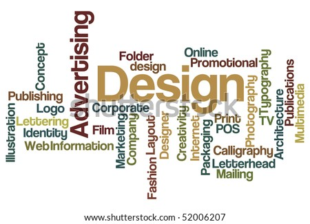 Advertising and Design - Word Cloud - stock vector