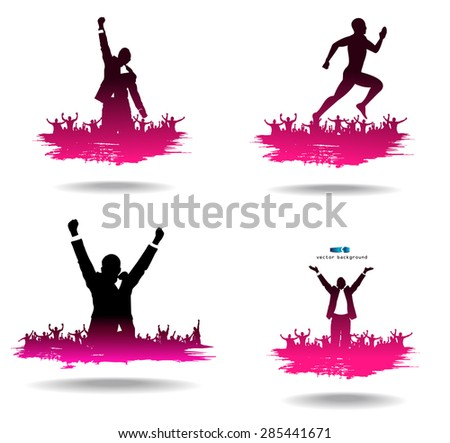 Advertising banners from silhouettes of happy people  - stock vector
