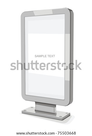 Advertising billboard isolated on white background vector - stock vector