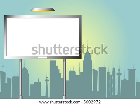 Advertising billboard over city line silhouette by day - stock vector
