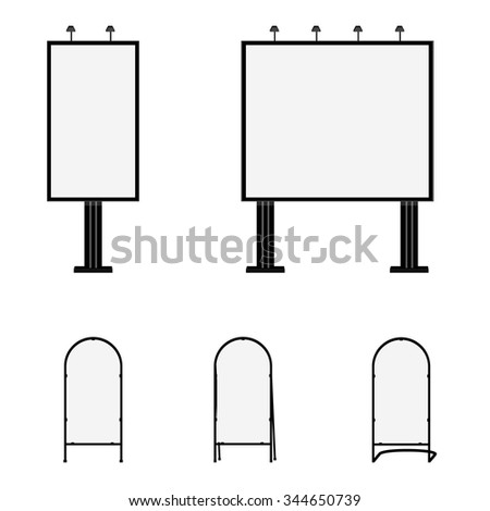 Advertising billboards and sandwich boards. Advertising stand. Mobility signboard vector illustration. - stock vector