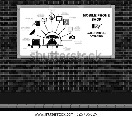Advertising board on brick wall with comical mobile phone shop advert - stock vector