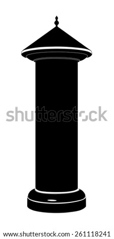 Advertising column silhouette Vector illustration isolated on white background - stock vector