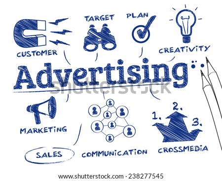 Advertising concept. Chart with keywords and icons - stock vector