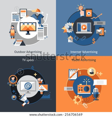 Advertising design concept set with outdoor marketing internet tv spots flat icons isolated vector illustration - stock vector
