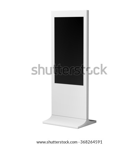 Advertising display stand or kiosk, vertical white for indoor and outdoor use. - stock vector