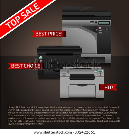 Advertising document template with vector printers and text.  - stock vector