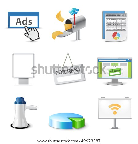 Advertising icon set - stock vector