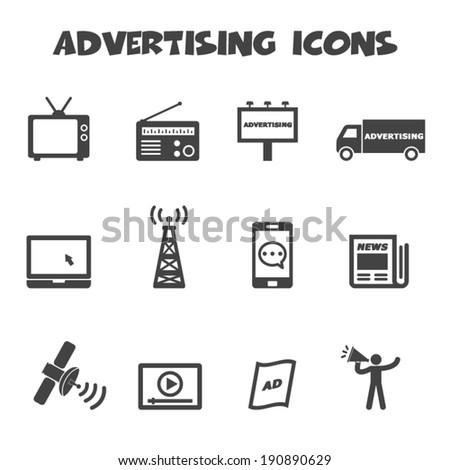 advertising icons, mono vector symbols - stock vector