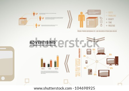 Advertising infographics - graphs, charts and statistics for presentations, reports, etc. - stock vector