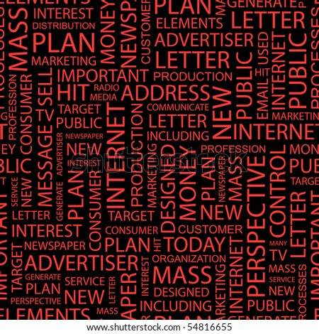 ADVERTISING. Seamless vector pattern with word cloud.