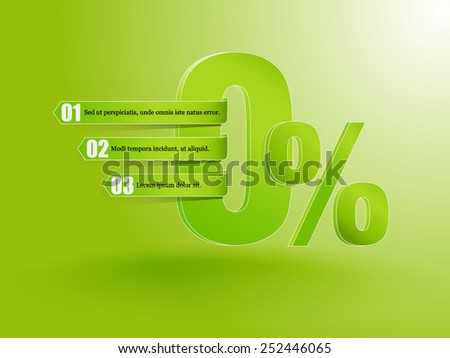 Advertising 0 % sign zero. - stock vector