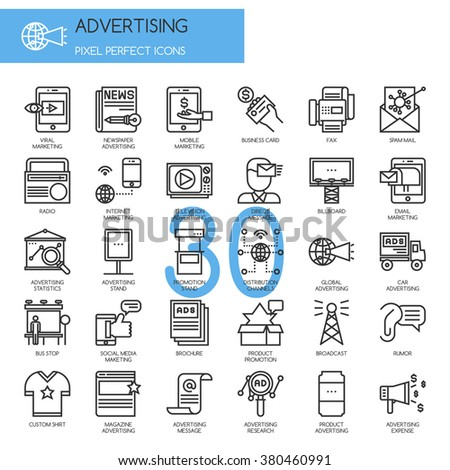 ADVERTISING , thin line icons set - stock vector