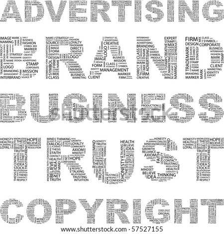 ADVERTISING. Word collage. Illustration with different association terms. - stock vector