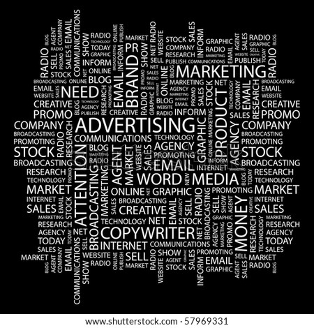 ADVERTISING. Word collage on black background. Illustration with different association terms. - stock vector
