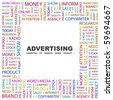 ADVERTISING. Word collage on white background. Vector illustration. - stock photo