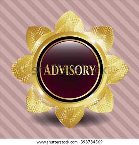Advisory golden emblem or badge - stock vector