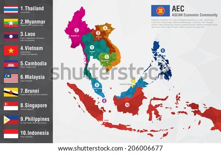 Aec asean economic community world map stock vector 206006677 aec asean economic community world map with a pixel diamond texture and flags world geography gumiabroncs Images