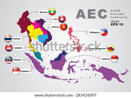 Aec asean economic community world map vector de stock283426097 aec asean economic community world map with a pixel diamond texture and flags world geography gumiabroncs Gallery