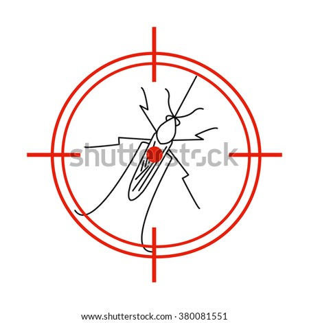 Aedes Aegypti mosquito on red target. No mosquito sign. Mosquito warning. Prohibition sign with a pest. Insect repellent emblem. Zika virus transmission. Vector illustration for your design.  - stock vector