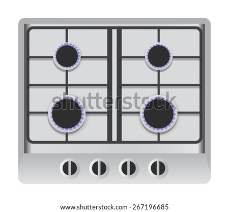 Aerial View Illustration of a Stove Isolated on White Background - stock vector