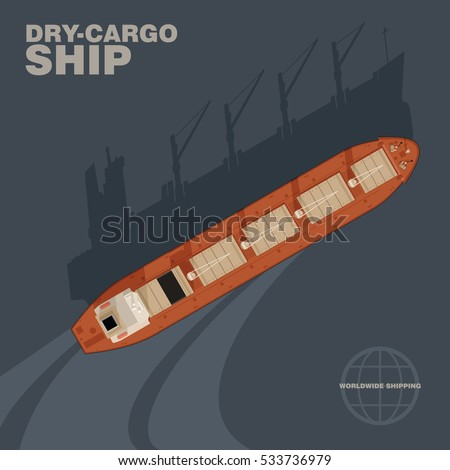 Aerial view of dry-cargo ship in the sea with cast shadow silhouette. Top view of a deck of a bulk carrier, commercial freight transport worldwide, realistic style, vector illustration.