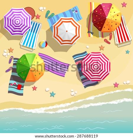 Aerial view of summer beach in flat design style. Slippers and towel, starfish and summertime, relaxation summer tourism, vector illustration - stock vector